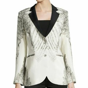 ISO Haute Hippie feather print tuxedo jacket